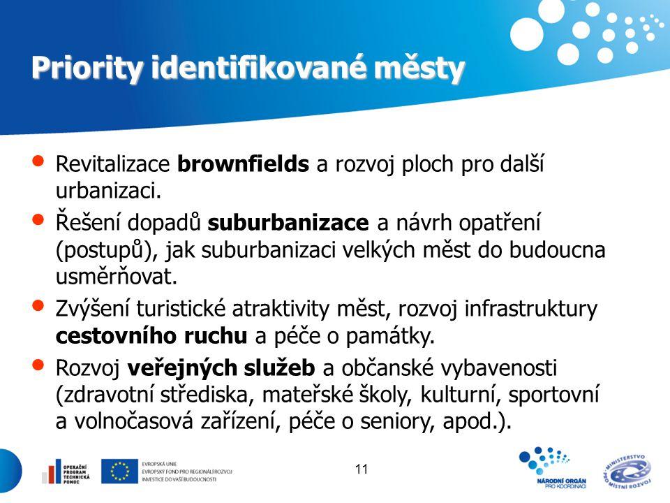 11 Priority identifikované městy Revitalizace brownfields a rozvoj ploch pro další urbanizaci. Řešení dopadů suburbanizace a návrh opatření (postupů),