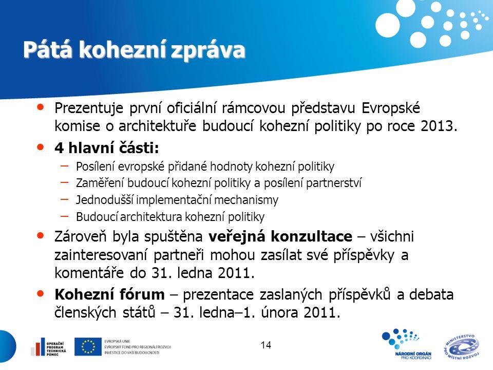 14 Pátá kohezní zpráva Prezentuje první oficiální rámcovou představu Evropské komise o architektuře budoucí kohezní politiky po roce 2013. 4 hlavní čá