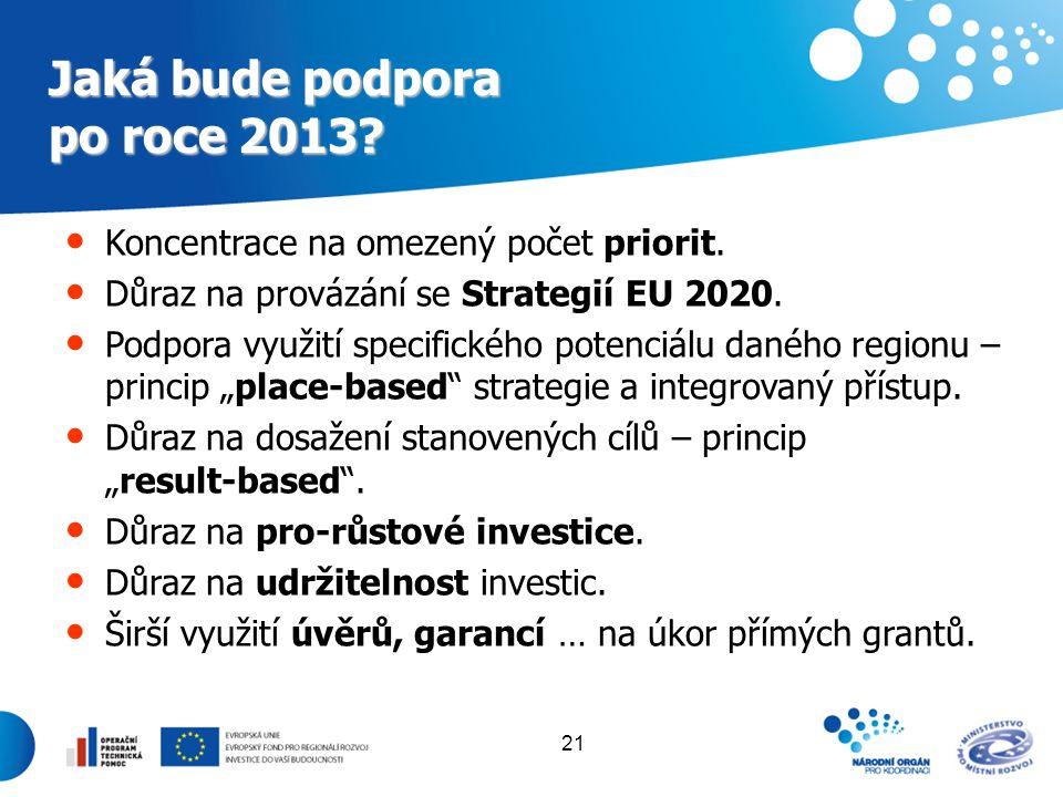 21 Jaká bude podpora po roce 2013? Koncentrace na omezený počet priorit. Důraz na provázání se Strategií EU 2020. Podpora využití specifického potenci