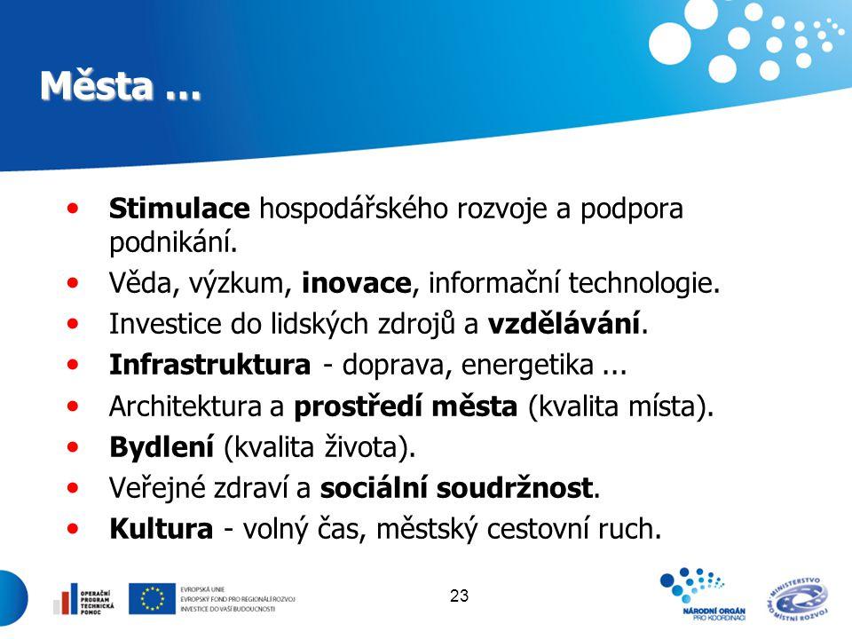 23 Města … Stimulace hospodářského rozvoje a podpora podnikání. Věda, výzkum, inovace, informační technologie. Investice do lidských zdrojů a vzdělává