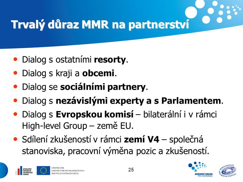 25 Trvalý důraz MMR na partnerství Dialog s ostatními resorty. Dialog s kraji a obcemi. Dialog se sociálními partnery. Dialog s nezávislými experty a