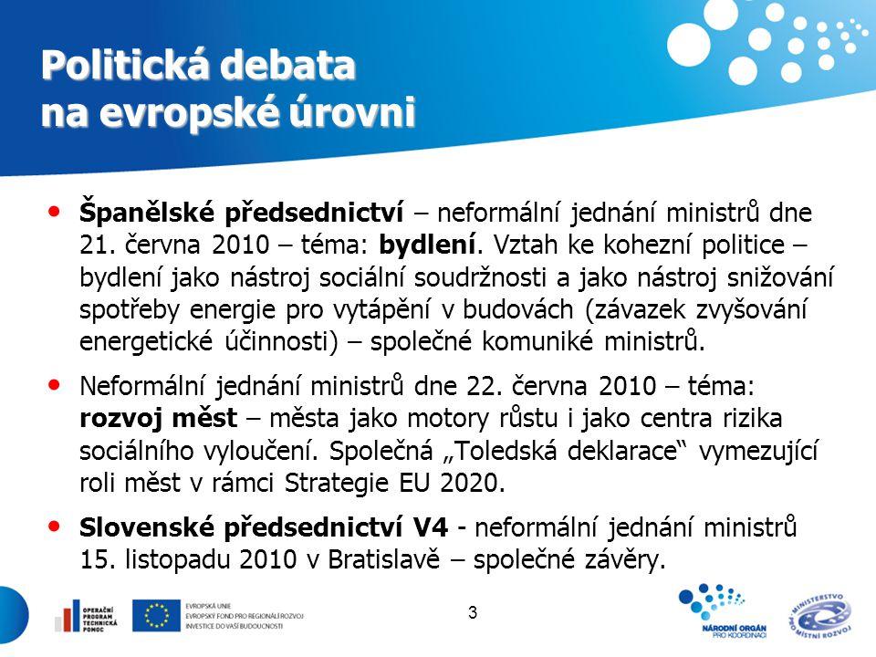 3 Politická debata na evropské úrovni Španělské předsednictví – neformální jednání ministrů dne 21. června 2010 – téma: bydlení. Vztah ke kohezní poli
