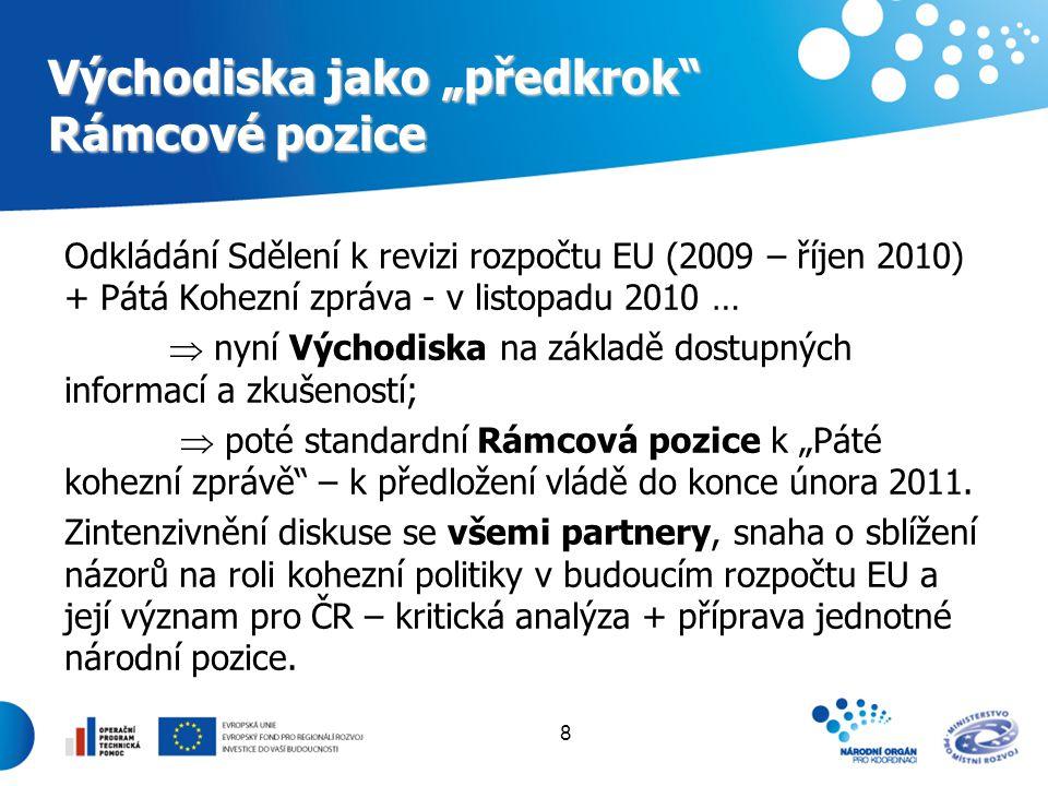 """8 Východiska jako """"předkrok"""" Rámcové pozice Odkládání Sdělení k revizi rozpočtu EU (2009 – říjen 2010) + Pátá Kohezní zpráva - v listopadu 2010 …  ny"""