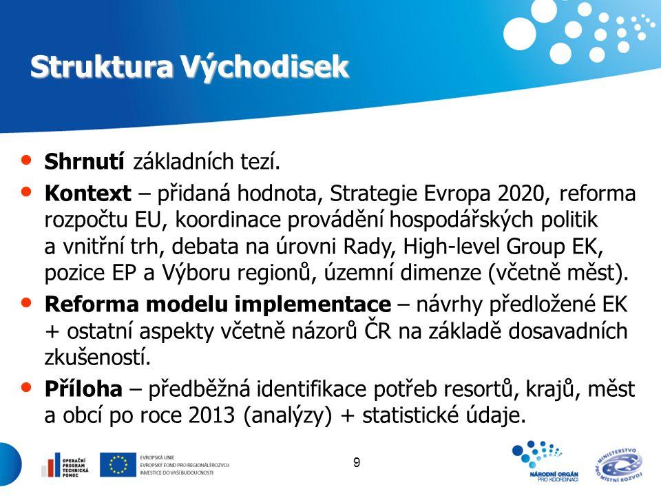 9 Struktura Východisek Shrnutí základních tezí. Kontext – přidaná hodnota, Strategie Evropa 2020, reforma rozpočtu EU, koordinace provádění hospodářsk