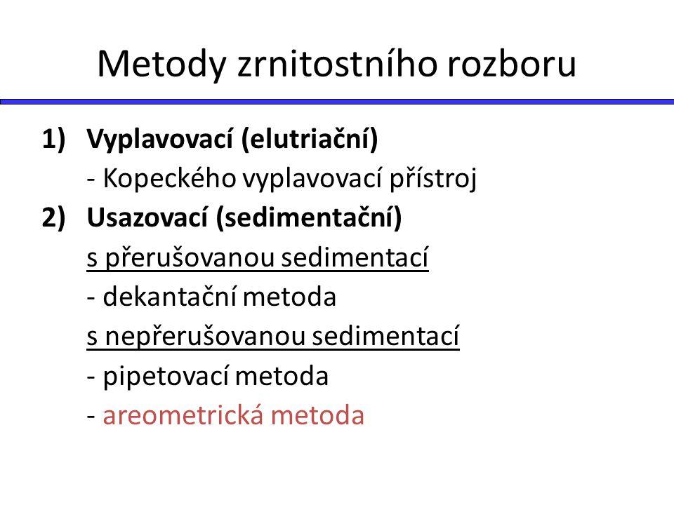 Metody zrnitostního rozboru 1) Vyplavovací (elutriační) - Kopeckého vyplavovací přístroj 2) Usazovací (sedimentační) s přerušovanou sedimentací - deka