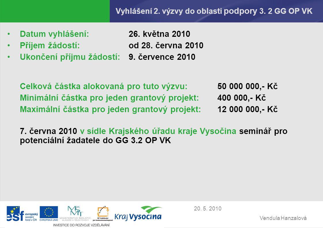 Vendula Hanzalová 20. 5. 2010 Vyhlášení 2. výzvy do oblasti podpory 3.