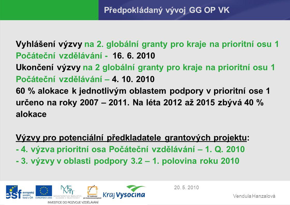 Vendula Hanzalová 20. 5. 2010 Předpokládaný vývoj GG OP VK Vyhlášení výzvy na 2.