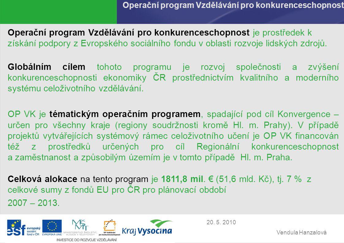 Vendula Hanzalová 20.5. 2010 Územní rozložení příjemců GP v 1.