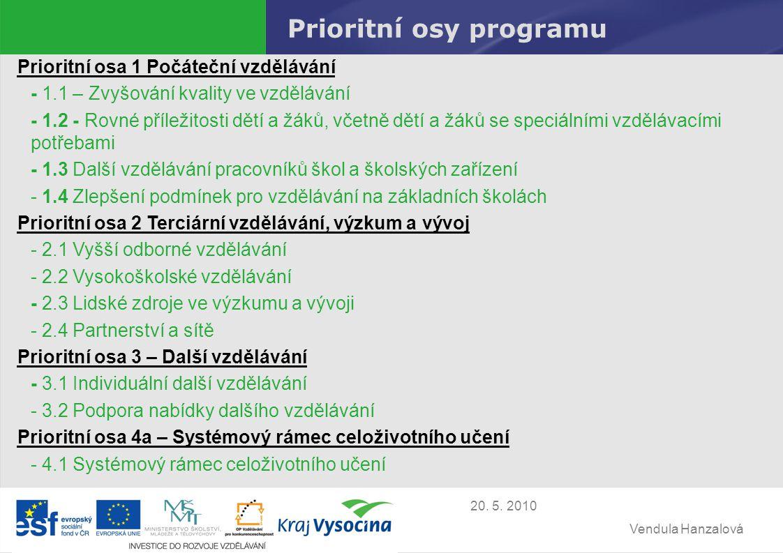Vendula Hanzalová 20.5. 2010 Krajský úřad kraje Vysočina předloží na MŠMT žádost o tzv.