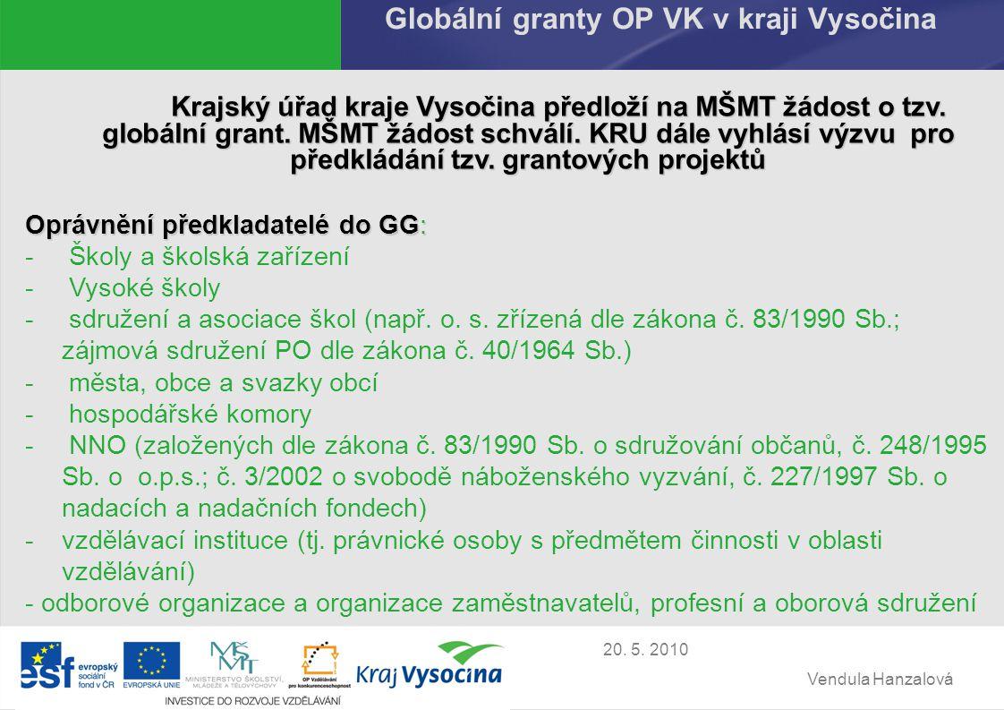 Vendula Hanzalová 20.5. 2010 Předpokládaný vývoj GG OP VK Vyhlášení výzvy na 2.