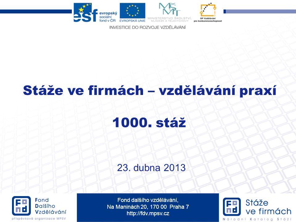 Fond dalšího vzdělávání, Na Maninách 20, 170 00 Praha 7 http://fdv.mpsv.cz Stáže ve firmách – vzdělávání praxí 1000.