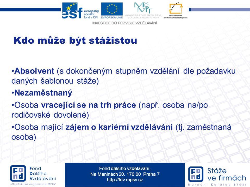 Fond dalšího vzdělávání, Na Maninách 20, 170 00 Praha 7 http://fdv.mpsv.cz Kdo může být stážistou Absolvent (s dokončeným stupněm vzdělání dle požadavku daných šablonou stáže) Nezaměstnaný Osoba vracející se na trh práce (např.
