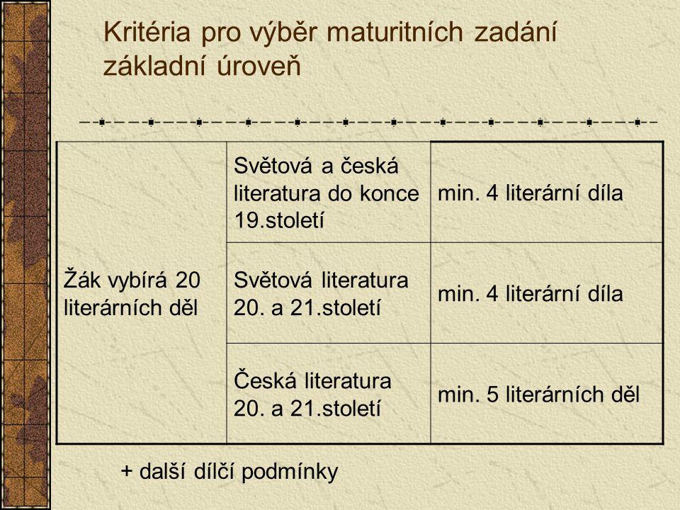 Kritéria pro výběr maturitních zadání vyšší úroveň Žák vybírá 30 literárních děl Světová a česká literatura do konce 18.století min.