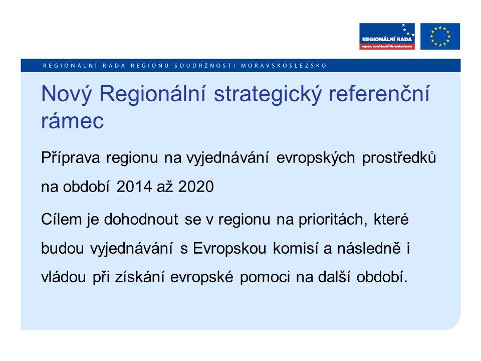 Nový Regionální strategický referenční rámec Příprava regionu na vyjednávání evropských prostředků na období 2014 až 2020 Cílem je dohodnout se v regionu na prioritách, které budou vyjednávání s Evropskou komisí a následně i vládou při získání evropské pomoci na další období.