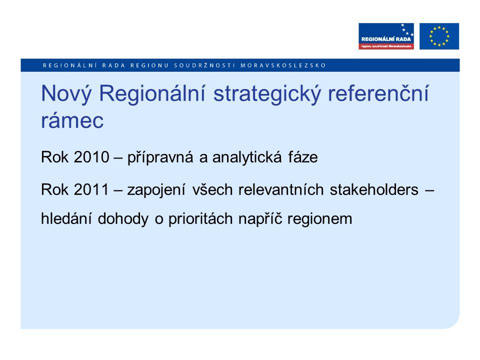Nový Regionální strategický referenční rámec Rok 2010 – přípravná a analytická fáze Rok 2011 – zapojení všech relevantních stakeholders – hledání dohody o prioritách napříč regionem