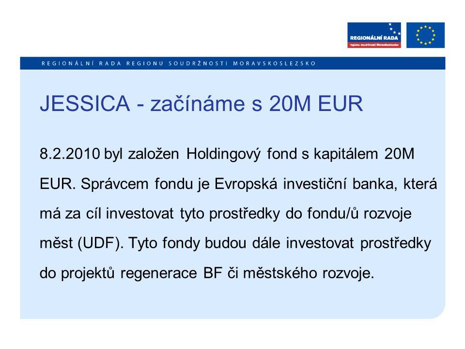 JESSICA - začínáme s 20M EUR JESSICA představuje alternativní formu návratného financování ze strukturálních fondů formou půjček, záruk nebo investic do základního jmění