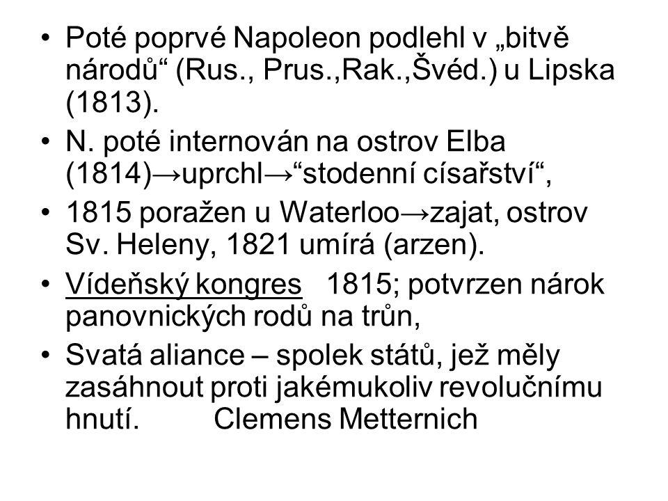"""Poté poprvé Napoleon podlehl v """"bitvě národů"""" (Rus., Prus.,Rak.,Švéd.) u Lipska (1813). N. poté internován na ostrov Elba (1814)→uprchl→""""stodenní císa"""