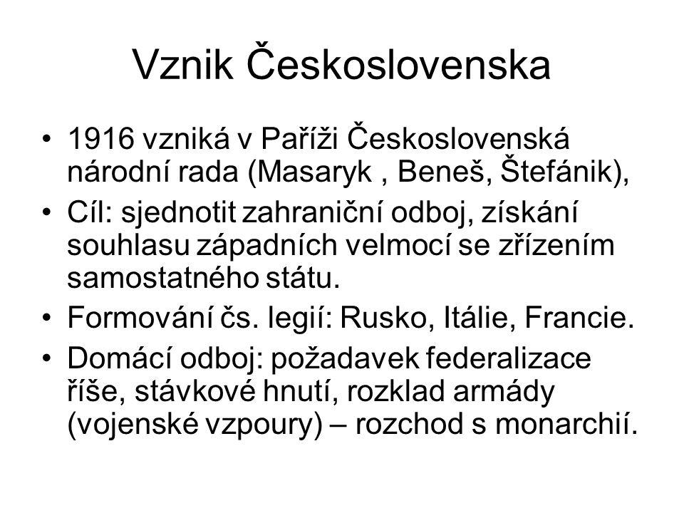 Vznik Československa 1916 vzniká v Paříži Československá národní rada (Masaryk, Beneš, Štefánik), Cíl: sjednotit zahraniční odboj, získání souhlasu západních velmocí se zřízením samostatného státu.