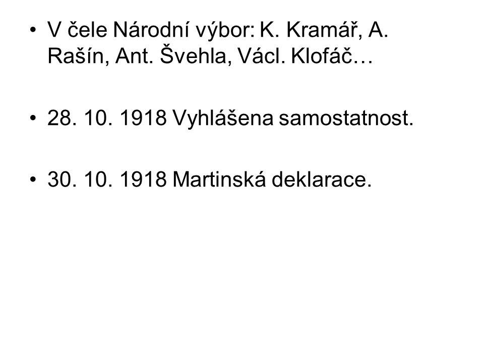 V čele Národní výbor: K. Kramář, A. Rašín, Ant. Švehla, Václ. Klofáč… 28. 10. 1918 Vyhlášena samostatnost. 30. 10. 1918 Martinská deklarace.