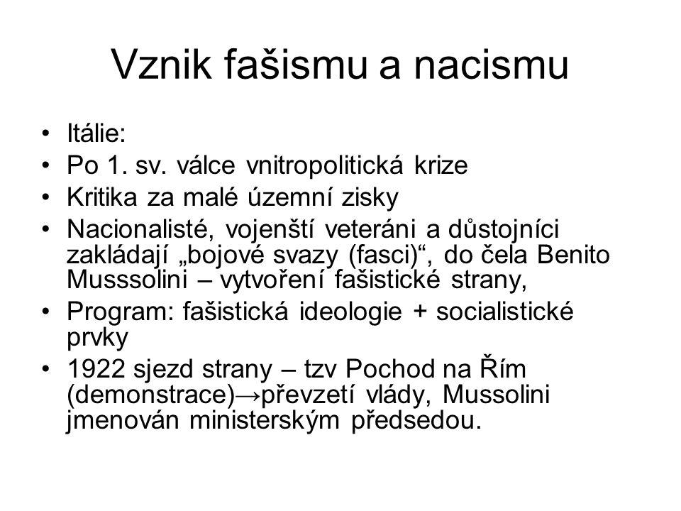 Vznik fašismu a nacismu Itálie: Po 1.sv.