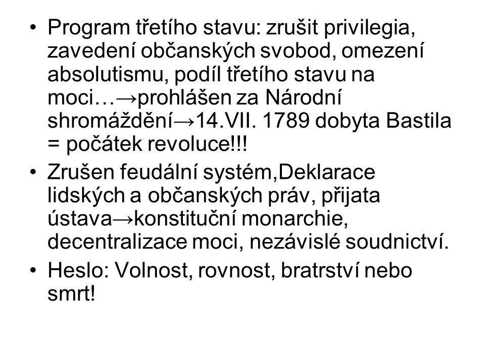 Program třetího stavu: zrušit privilegia, zavedení občanských svobod, omezení absolutismu, podíl třetího stavu na moci…→prohlášen za Národní shromáždění→14.VII.