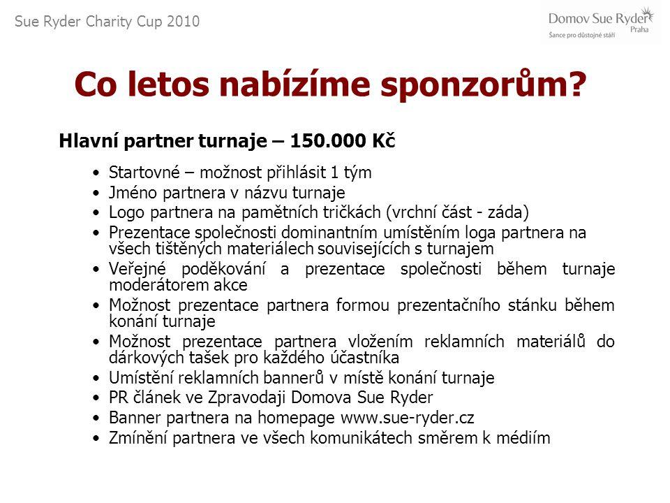 Sue Ryder Charity Cup 2010 Co letos nabízíme sponzorům.