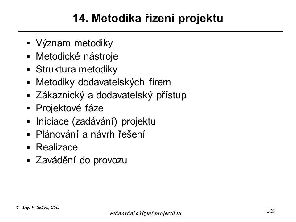 © Ing. V. Šebek, CSc. Plánování a řízení projektů IS 1/20 14. Metodika řízení projektu  Význam metodiky  Metodické nástroje  Struktura metodiky  M