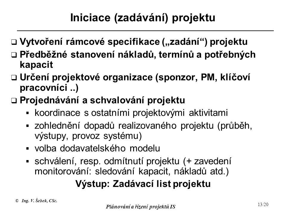 """© Ing. V. Šebek, CSc. Plánování a řízení projektů IS 13/20 Iniciace (zadávání) projektu  Vytvoření rámcové specifikace (""""zadání"""") projektu  Předběžn"""