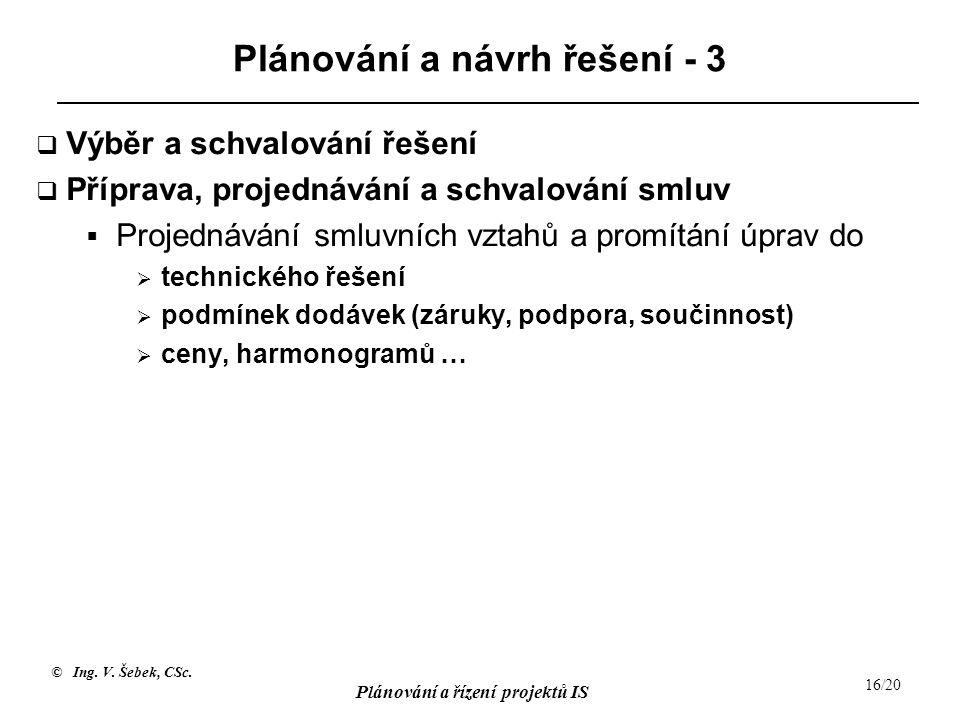 © Ing. V. Šebek, CSc. Plánování a řízení projektů IS 16/20 Plánování a návrh řešení - 3  Výběr a schvalování řešení  Příprava, projednávání a schval