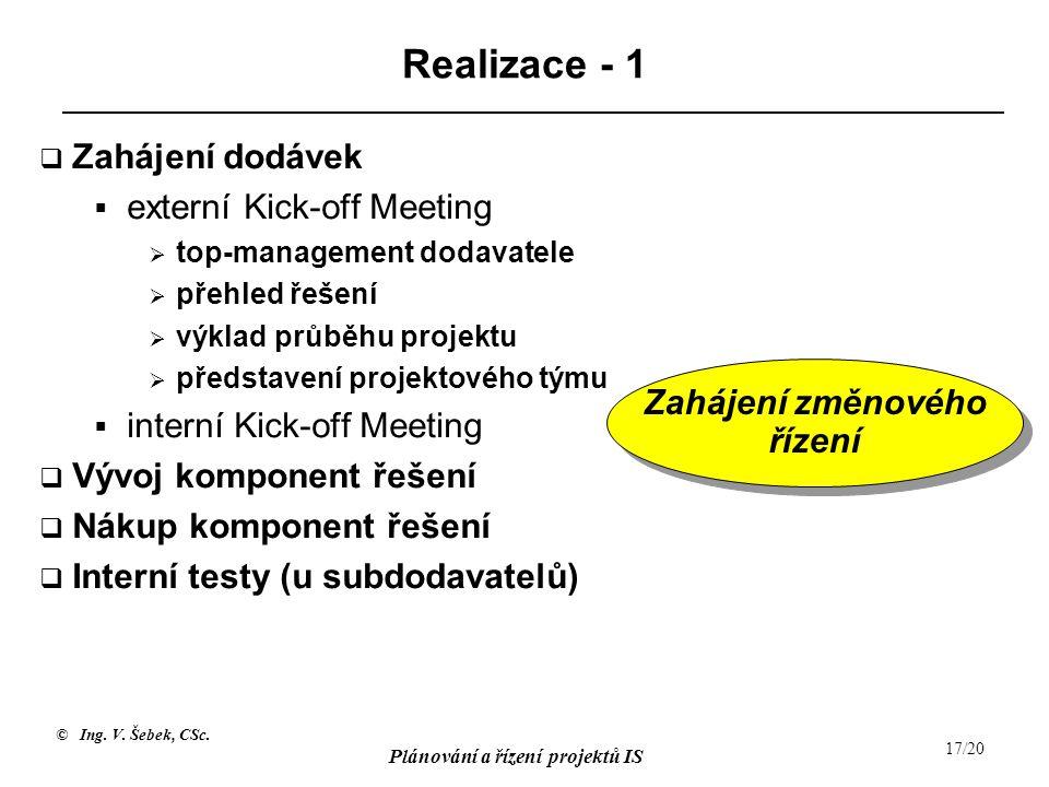 © Ing. V. Šebek, CSc. Plánování a řízení projektů IS 17/20 Realizace - 1  Zahájení dodávek  externí Kick-off Meeting  top-management dodavatele  p