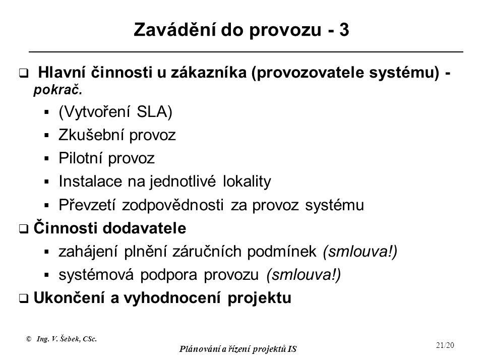 © Ing. V. Šebek, CSc. Plánování a řízení projektů IS 21/20 Zavádění do provozu - 3  Hlavní činnosti u zákazníka (provozovatele systému) - pokrač.  (