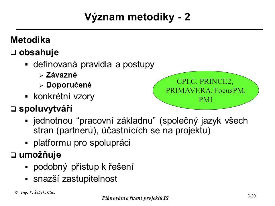 © Ing. V. Šebek, CSc. Plánování a řízení projektů IS 3/20 Význam metodiky - 2 Metodika  obsahuje  definovaná pravidla a postupy  Závazné  Doporuče