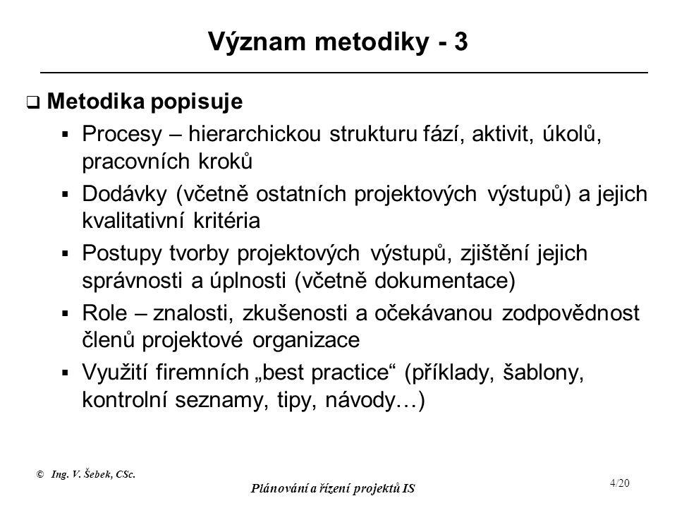 © Ing. V. Šebek, CSc. Plánování a řízení projektů IS 4/20 Význam metodiky - 3  Metodika popisuje  Procesy – hierarchickou strukturu fází, aktivit, ú