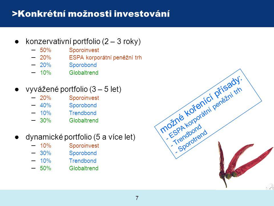 7 >Konkrétní možnosti investování ● konzervativní portfolio (2 – 3 roky) – 50% Sporoinvest – 20% ESPA korporátní peněžní trh – 20% Sporobond – 10% Glo