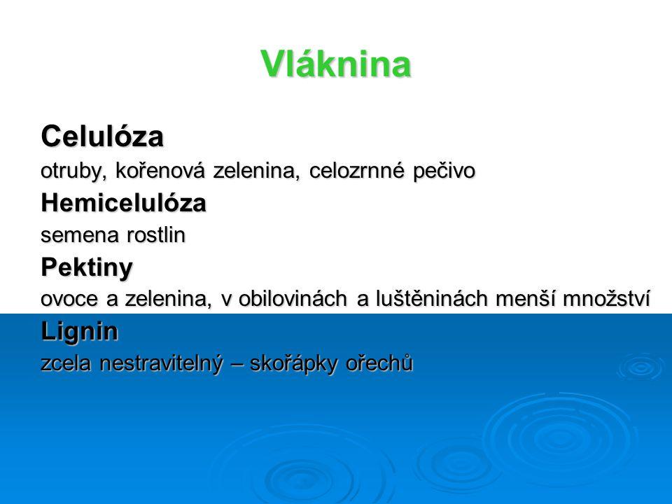 Vláknina Celulóza otruby, kořenová zelenina, celozrnné pečivo Hemicelulóza semena rostlin Pektiny ovoce a zelenina, v obilovinách a luštěninách menší