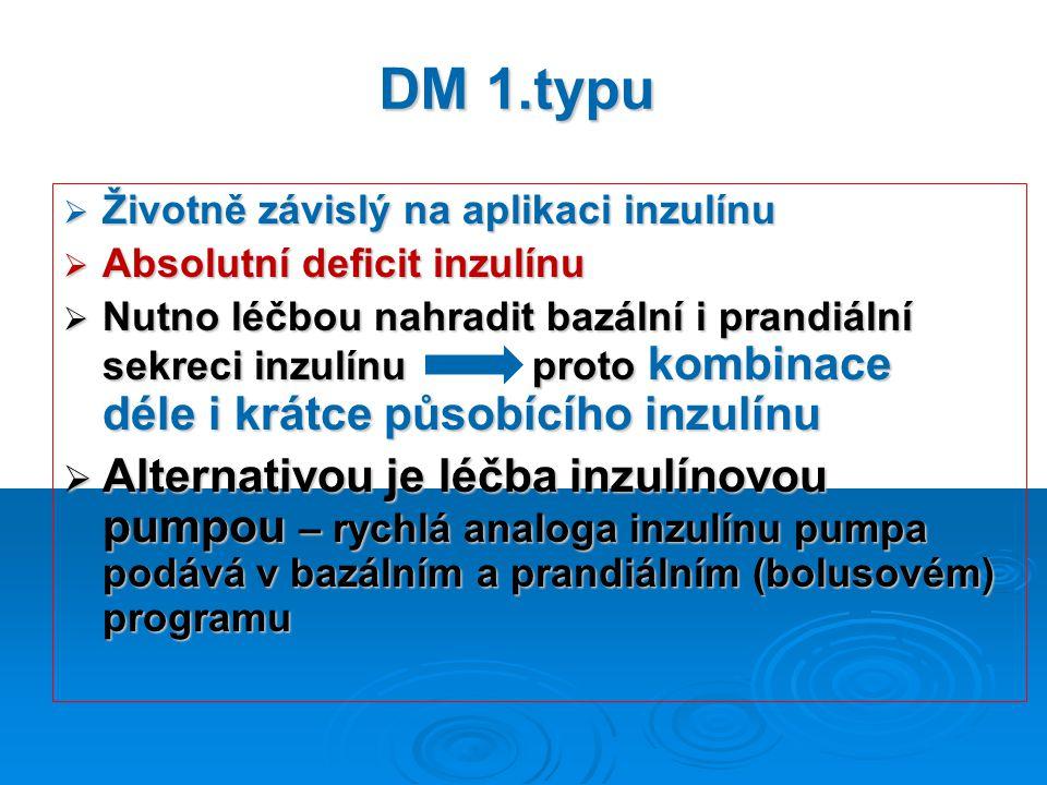 DM 1.typu  Životně závislý na aplikaci inzulínu  Absolutní deficit inzulínu  Nutno léčbou nahradit bazální i prandiální sekreci inzulínu proto kombinace déle i krátce působícího inzulínu  Alternativou je léčba inzulínovou pumpou – rychlá analoga inzulínu pumpa podává v bazálním a prandiálním (bolusovém) programu