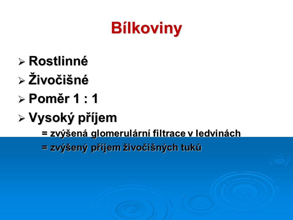 Bílkoviny  Rostlinné  Živočišné  Poměr 1 : 1  Vysoký příjem = zvýšená glomerulární filtrace v ledvinách = zvýšená glomerulární filtrace v ledvinách = zvýšený příjem živočišných tuků = zvýšený příjem živočišných tuků