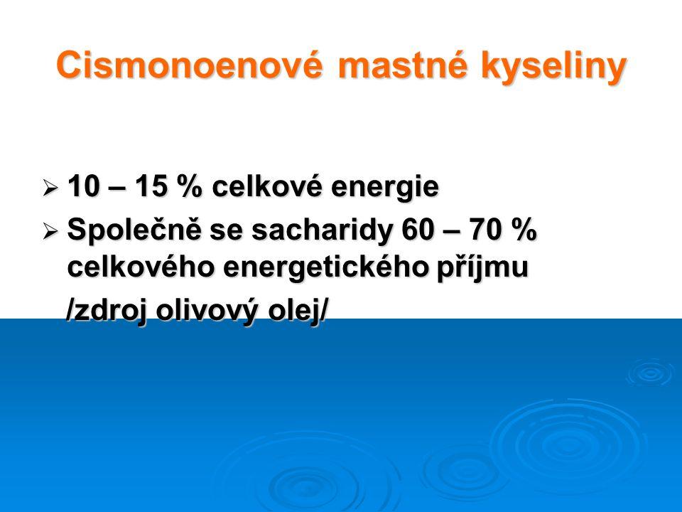 Cismonoenové mastné kyseliny  10 – 15 % celkové energie  Společně se sacharidy 60 – 70 % celkového energetického příjmu /zdroj olivový olej/ /zdroj