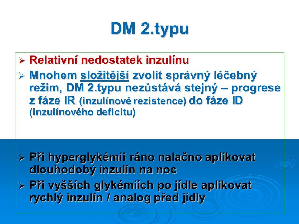 DM 2.typu  Relativní nedostatek inzulínu  Mnohem složitější zvolit správný léčebný režim, DM 2.typu nezůstává stejný – progrese z fáze IR (inzulínové rezistence) do fáze ID (inzulínového deficitu)  Při hyperglykémii ráno nalačno aplikovat dlouhodobý inzulín na noc  Při vyšších glykémiích po jídle aplikovat rychlý inzulín / analog před jídly
