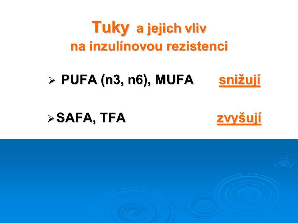 Tuky a jejich vliv na inzulínovou rezistenci  PUFA (n3, n6), MUFA snižují  SAFA, TFA zvyšují