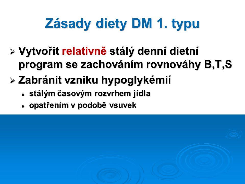 Zásady diety DM 1. typu  Vytvořit relativně stálý denní dietní program se zachováním rovnováhy B,T,S  Zabránit vzniku hypoglykémií stálým časovým ro