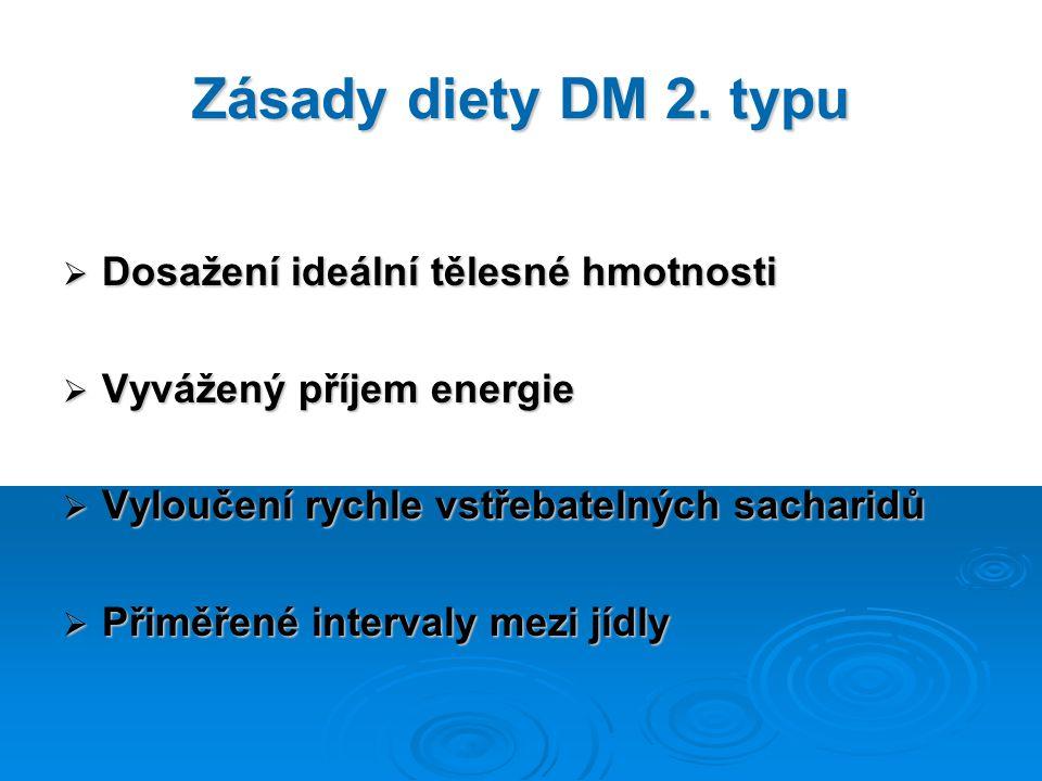 Zásady diety DM 2. typu  Dosažení ideální tělesné hmotnosti  Vyvážený příjem energie  Vyloučení rychle vstřebatelných sacharidů  Přiměřené interva