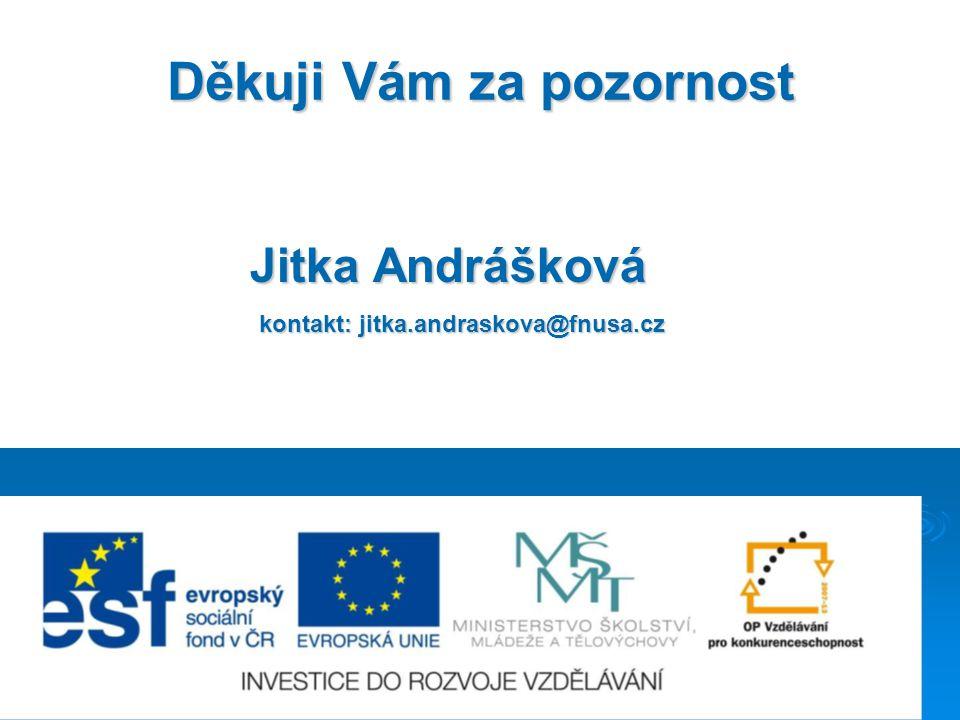 Děkuji Vám za pozornost Jitka Andrášková kontakt: jitka.andraskova@fnusa.cz kontakt: jitka.andraskova@fnusa.cz