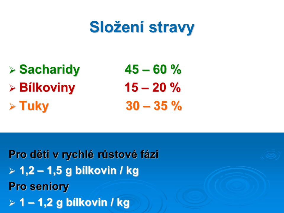 Složení stravy  Sacharidy 45 – 60 %  Bílkoviny 15 – 20 %  Tuky 30 – 35 % Pro děti v rychlé růstové fázi  1,2 – 1,5 g bílkovin / kg Pro seniory  1 – 1,2 g bílkovin / kg