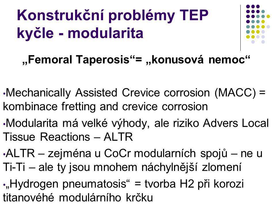 """Konstrukční problémy TEP kyčle - modularita """"Femoral Taperosis""""= """"konusová nemoc"""" Mechanically Assisted Crevice corrosion (MACC) = kombinace fretting"""