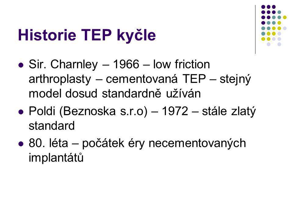 Historie TEP kyčle Sir. Charnley – 1966 – low friction arthroplasty – cementovaná TEP – stejný model dosud standardně užíván Poldi (Beznoska s.r.o) –