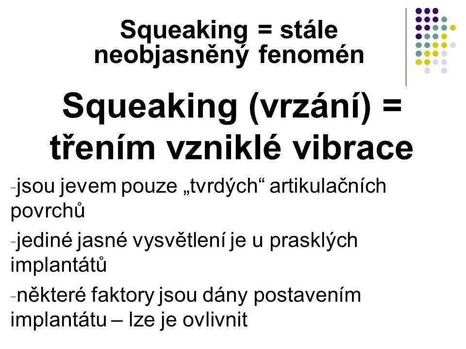 """Squeaking = stále neobjasněný fenomén Squeaking (vrzání) = třením vzniklé vibrace - jsou jevem pouze """"tvrdých"""" artikulačních povrchů - jediné jasné vy"""