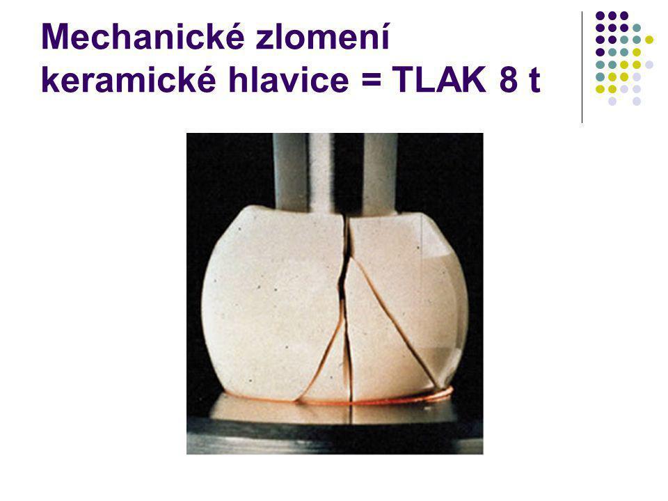 Mechanické zlomení keramické hlavice = TLAK 8 t