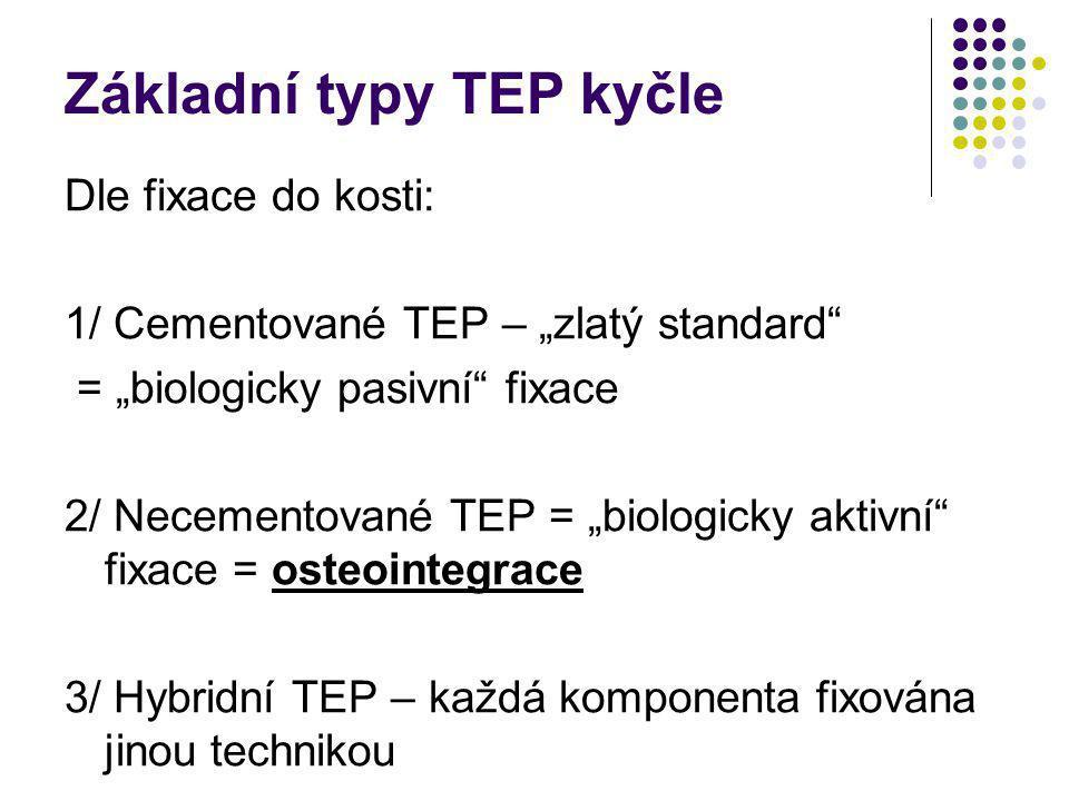 """Základní typy TEP kyčle Dle fixace do kosti: 1/ Cementované TEP – """"zlatý standard"""" = """"biologicky pasivní"""" fixace 2/ Necementované TEP = """"biologicky ak"""
