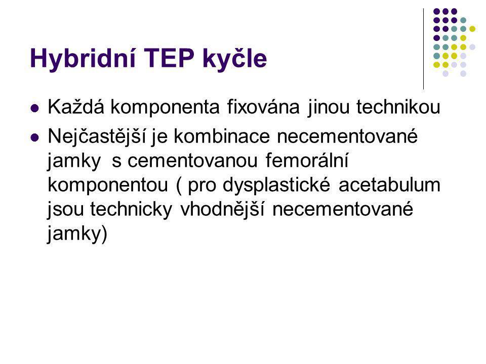 Hybridní TEP kyčle Každá komponenta fixována jinou technikou Nejčastější je kombinace necementované jamky s cementovanou femorální komponentou ( pro d